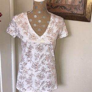 V-neck rose gold floral design